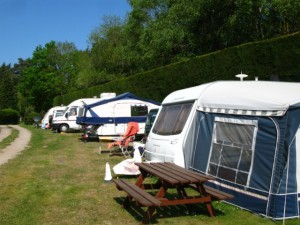 Caravans on the path adjacent to the Club House
