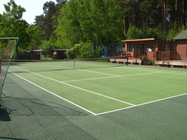 Newly renovated tennis court